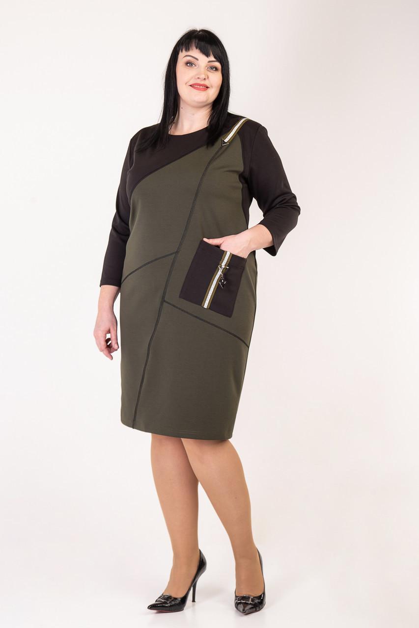 Повседневное женское платье цвета хаки