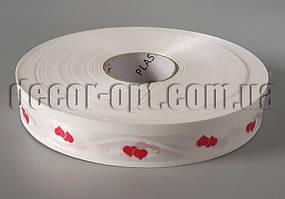 Лента белая с парой маленьких сердец 2см/100м 01-13-00