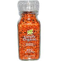 Simply Organic, Толченая приправа для барбекю, с настраивающейся крышкой, 3.88 унций (110 г)