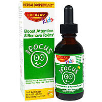 """Bioray Inc., NDF """"Фокус"""", повышает внимание и выводит токсины, для детей, цитрусовый вкус, 2 жид. унций (60 мл)"""