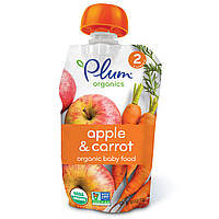 Plum Organics, Органическое детское питание, стадия 2, яблоко и морковь, 4 унции (113 г)