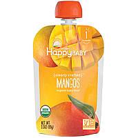Nurture Inc. (Happy Baby), Органическое детское питание, особое приготовление, манго, 1-й этап, 4 + месяцев, 3,5 унции (99 г)