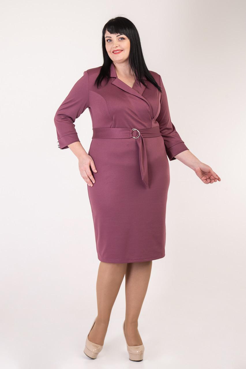 Приталенное женское платье с поясом розовое