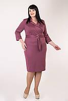 Приталенное женское платье с поясом розовое, фото 1