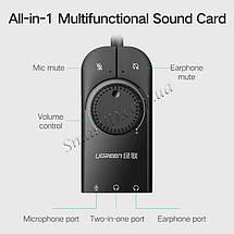 Внешняя звуковая карта Ugreen USB 2.0 c регулятором громкости CM129 (Черная), фото 2