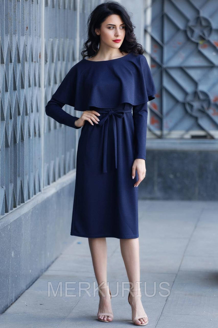 1a9eb8cf8f300cf Синее платье Tiana из трикотажа с воланом на плечах и длинным рукавом