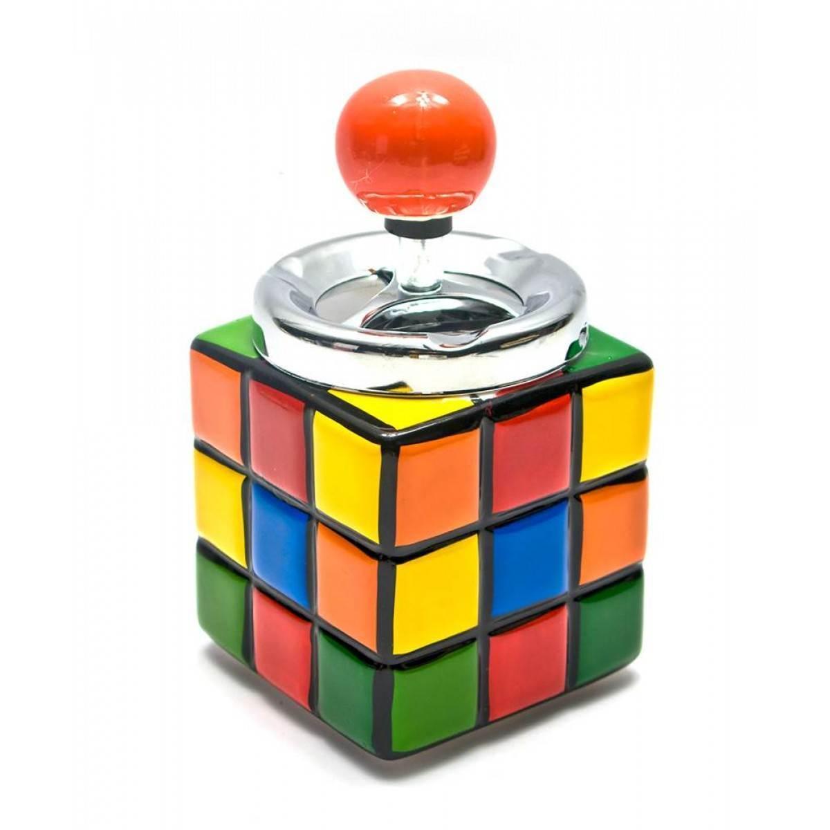 Пепельница с крышкой керамическая Кубик Рубика (16х8,5х8,5 см)