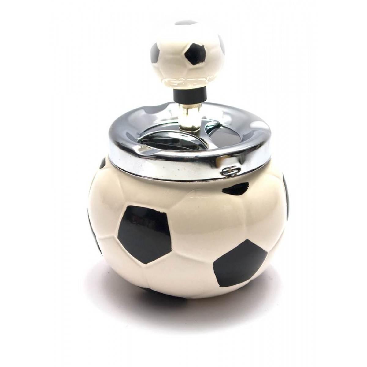 Пепельница с крышкой керамическая Футбольный мяч (13х10х10 см)