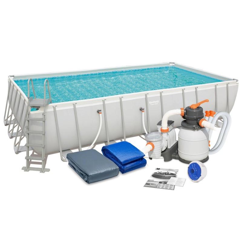 Bestway 56471 каркасный бассейн 671 х 366 х 132 см песочный фильтр 5678 л/ч, лестница, тент, подстилка