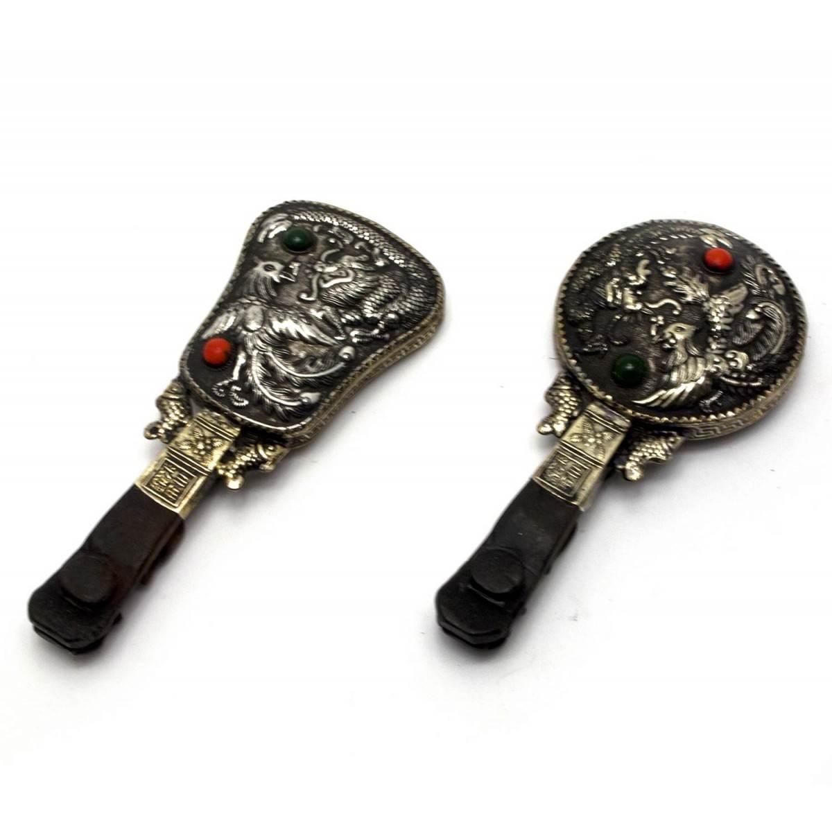 Зеркальце с ручкой Феникс дракон (17х7х1,5 см)