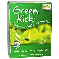 Now Foods, Настоящий чай, Green Kick, зеленый чай сенча и маття, 24 чайных пакетика, 1.44 унций (41 г)