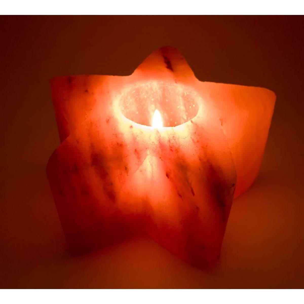 Подсвечник соляной Звезда 0,75кг (ch-9)(13х13х6,5 cm)(18 шт ящ.)(Гималайская соль)