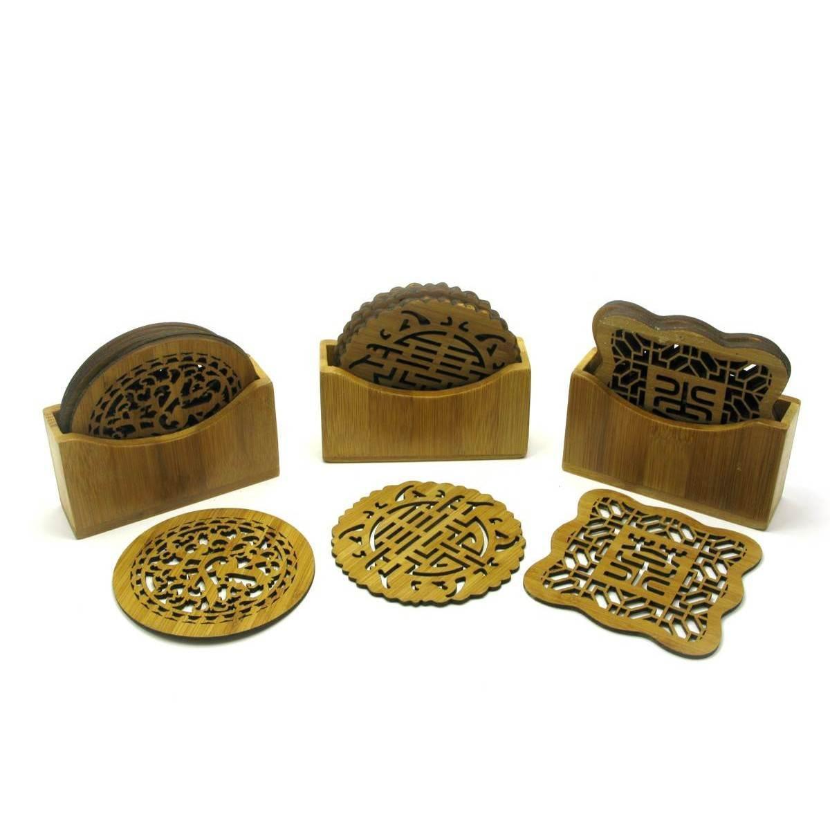 Подстаканники бамбуковые резные (6 шт)(11х10х3,5 см)