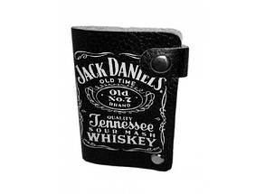 Кожаная кредитница на кнопке Jack Daniel's 10 карт