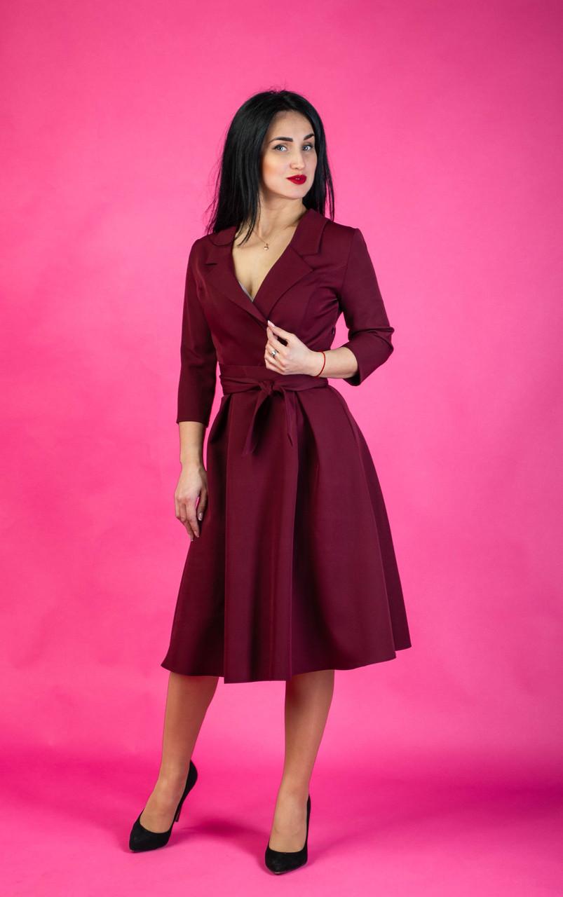 daf7b3c0c5a Бордовое женское платье-халат размер  44