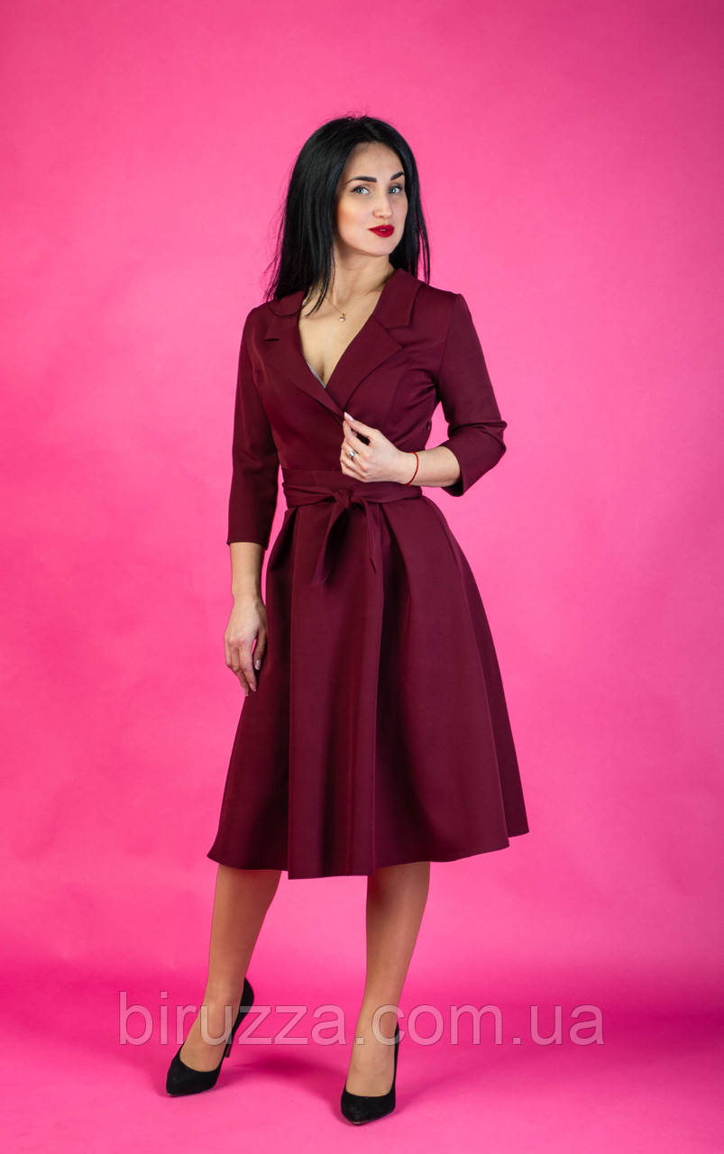 74e5b7a9502 Бордовое женское платье-халат размер  44