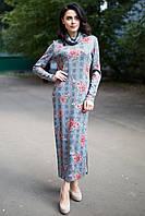 Прямое длинное платье MARY с воротником-хомутом и разрезом в цветочный принт
