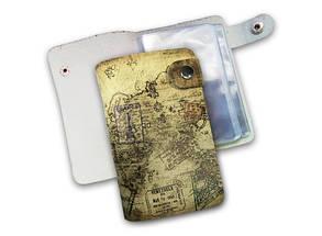 Кожаная кредитница на кнопке путешественник 20 карт