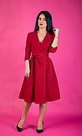 Яркое женское деловое платье красного цвета размер: 44