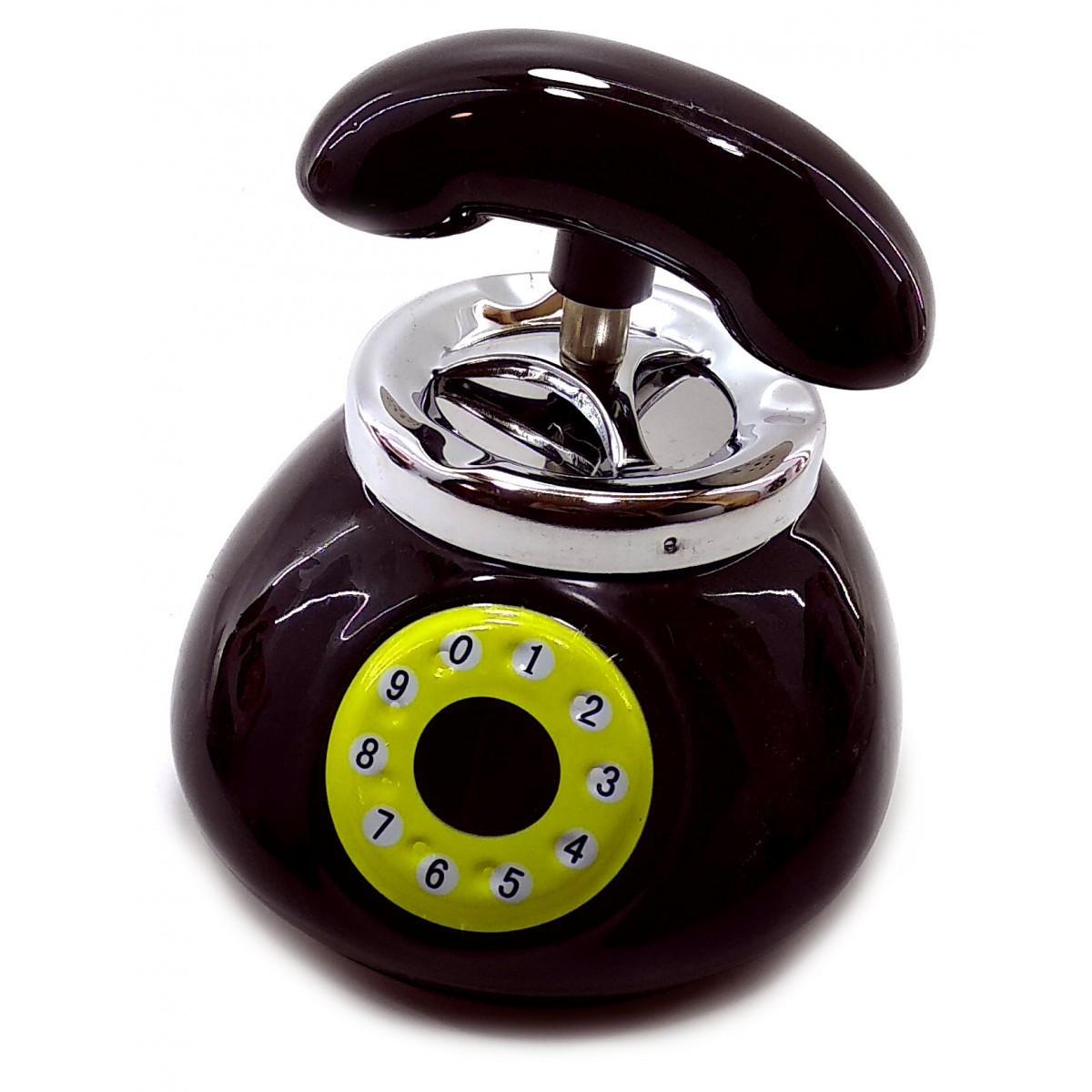 Пепельница с крышкой керамическая Телефон черная (12,5х11,5х13 см)