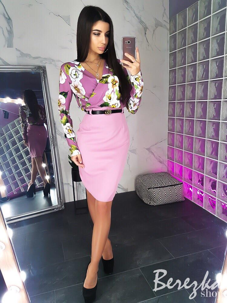 494e03257ac Женский костюм. Блузка с цветочным принтом и юбка - Интернет-магазин одежды