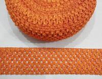 Ткань-резинка ажурная, ширина 5,5 см. Рыжая. Отрез 1 м., фото 1