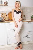 Комплект женский из шелка  в пижамном стиле майка и штаны с кружевом 2Pmil01