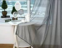 Готовые Шторы комплект для спальни из легкой ткани вуаль светло серого цвета 6 м.