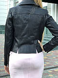 Черная брендовая куртка косуха, фото 5