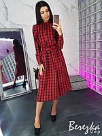Платье женское в клетку с пышной юбкой и поясом разные цвета Sms2986