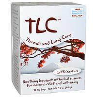 Now Foods, Real Tea, TLC, чай для горла и легких, без кофеина, 24 пакетика, 1,7 унции (48 г)