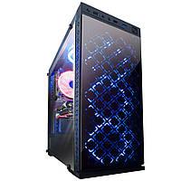 Корпус Illusion blue led без БП (Illusion-U3-GLS-4BDRF); 1xUSB 3.0, 2xUSB, Левая боковая панель из закаленного стекла, 4шт Blue Double Ring Fan