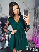 Платье комбинезон женское красивое с рукавами из сетки в горошек и пышной юбкой  Sms2989, фото 1