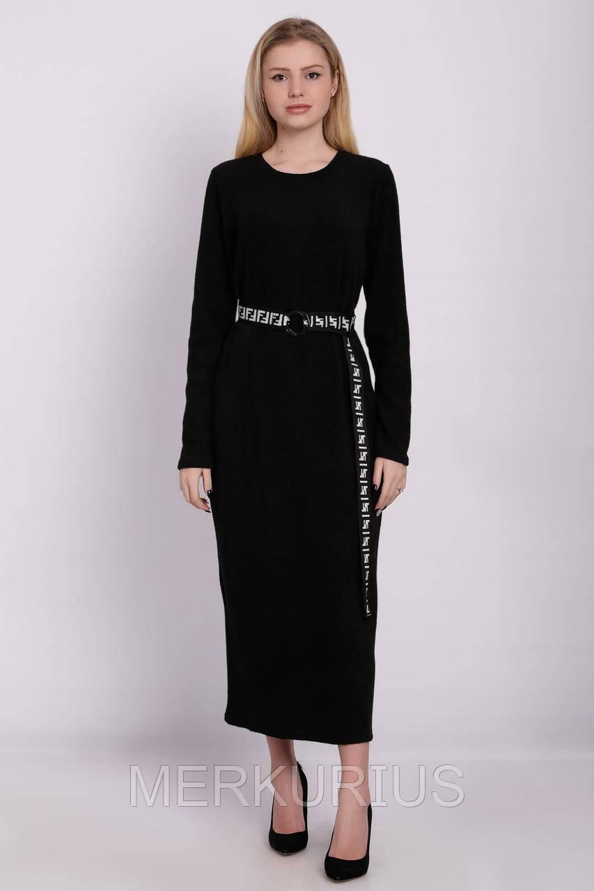 4e21b3bc1f5bc53 Черное Платье Макси SABINA Из Вязаного Трикотажа с Длинными Рукавами ...