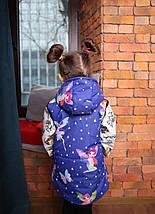 Демисезонная теплая жилетка для ребенка синяя с принтом Новинка 2019!, фото 2