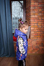 Демисезонная теплая жилетка для ребенка синяя с принтом Новинка 2019!, фото 3