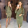 Платье женское стильное миди из замши на молнии разные цвета Smld2990