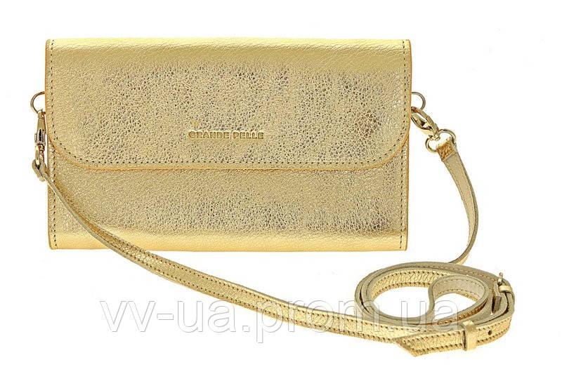 Клатч Grande Pelle Practico, золото, кожа
