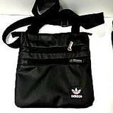Спортивные барсетки кожзам Adidas (черный+голубой)23*24см, фото 2