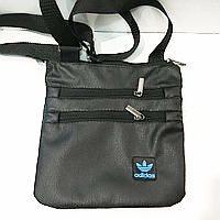 Спортивные барсетки кожзам Adidas (черный+голубой)23*24см