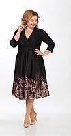 Платье Lady Secret-3568/1 белорусский трикотаж, черный с бежем, 52
