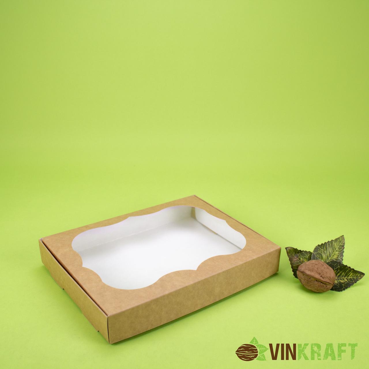 Коробка 200*150*30 для пряника з вікном, крафт