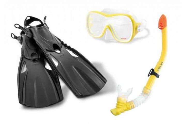 Комплект с ластами для подводного плавания 38-40 р