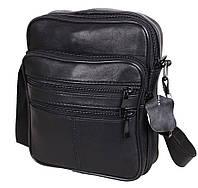 Кожаная сумка мужская через плечо удобная барсетка из кожи s220 черная кожа Польша 22х18х8см