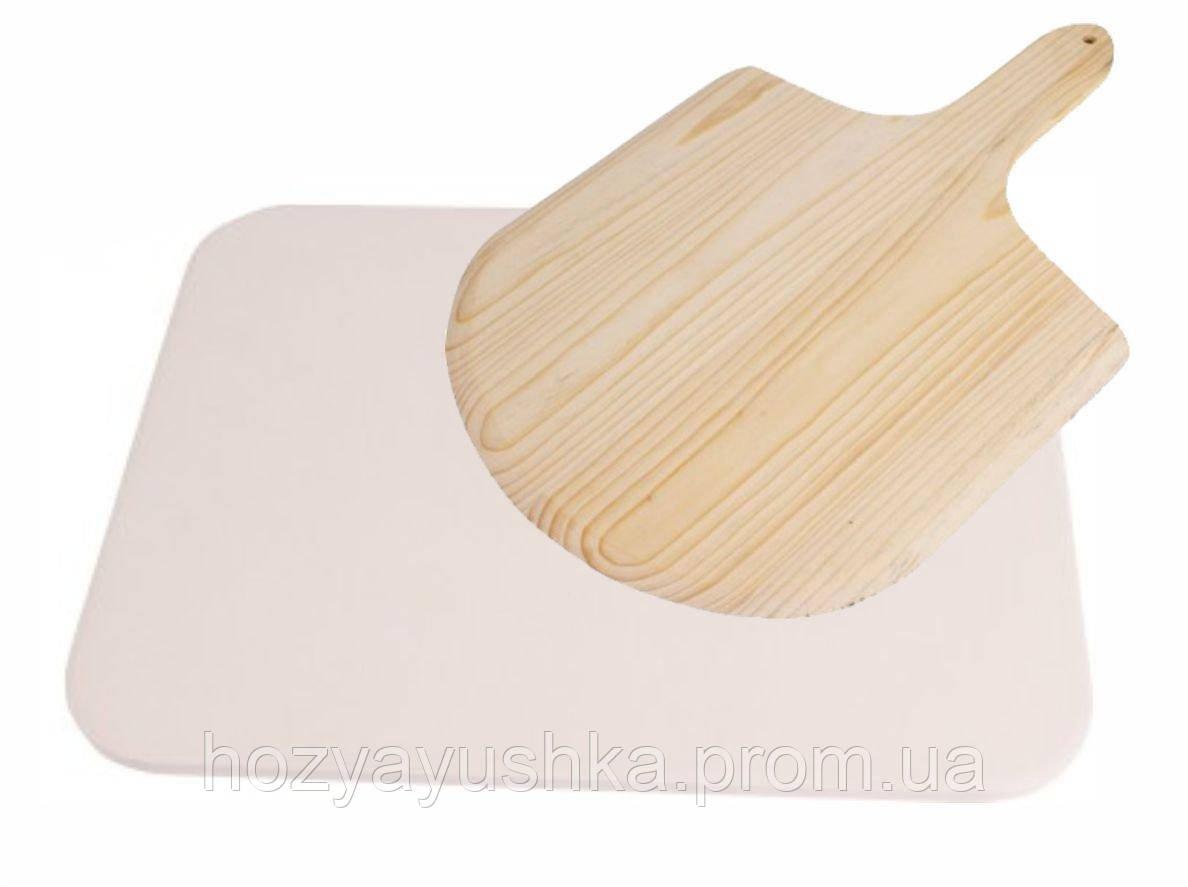 Камень для пиццы с лопаткой - прямоугольный Biowin PK-312007