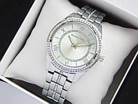 Женские кварцевые наручные часы копия Michael Kors серебристые, римские цифры, циферблат стального цвета, фото 1