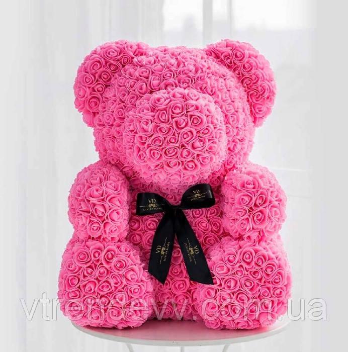 Мишка из роз с бантом, в подарочной коробке (большой 40 см) розовый