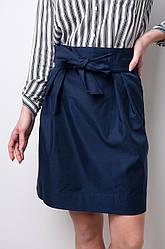 Модная женская юбка миди с завязками Синий