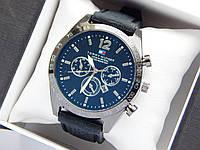 Чоловічі кварцові наручні годинники Tommy Hilfiger чорного кольору на каучуковому ремінці чорний циферблат, фото 1