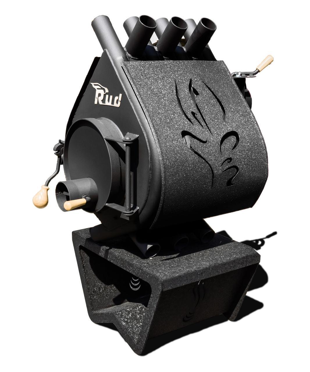 Піч Rud Pyrotron Кантрі 00 (опалювальна площа 40 кв. м х 2,5 м) без скла, з декоративною обшивкою (чорна)